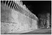 Ramparts at night. Avignon, Provence, France ( black and white)