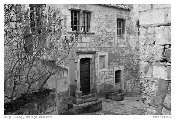 Stone townhouse, Les Baux-de-Provence. Provence, France (black and white)