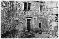 Stone townhouse, Les Baux-de-Provence. Provence, France ( black and white)