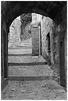 Arch and paved stairs, Les Baux-de-Provence. Provence, France (black and white)