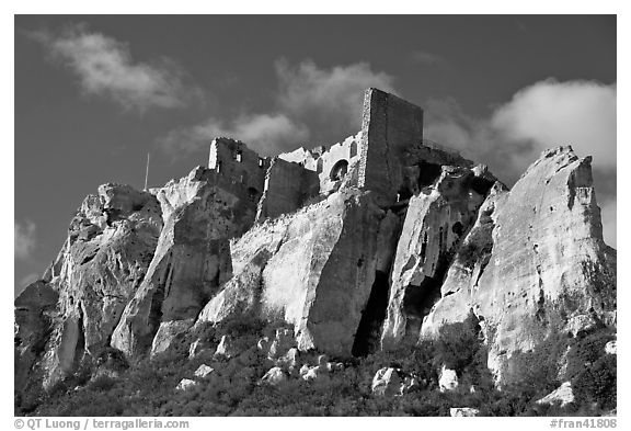 Rocky outcrop and ruined castle, Les Baux-de-Provence. Provence, France (black and white)