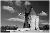 Alphonse Daudet windmill, Fontvielle. Provence, France ( black and white)