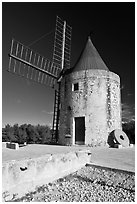 Alphonse Daudet Moulin, Fontvielle. Provence, France (black and white)