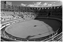 Inside the Roman amphitheater. Arles, Provence, France ( black and white)