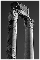 Ruined columns of the antique theatre. Arles, Provence, France (black and white)