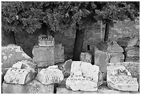 Ruined blocks of the antique theater. Arles, Provence, France (black and white)