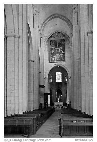 Interior nave of St Trophime church. Arles, Provence, France (black and white)