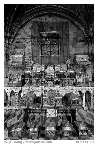 Relics, Saint Trophime church. Arles, Provence, France (black and white)