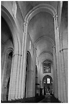 Romanesque style nave, St Trophime church. Arles, Provence, France (black and white)