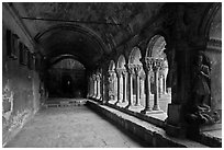 Romanesque gallery with delicately sculptured columns, St Trophimus cloister. Arles, Provence, France (black and white)