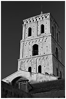 Bell tower in provencal romanesque style. Arles, Provence, France (black and white)