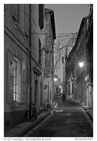 Narrow street at night. Arles, Provence, France (black and white)