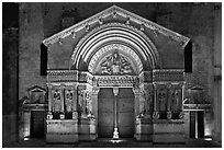 Portal of Trophime church with representation of the Last Judgment. Arles, Provence, France (black and white)
