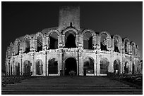 Roman Arena at night. Arles, Provence, France (black and white)