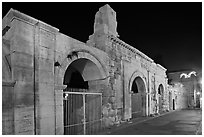 Roman theatre at night. Arles, Provence, France (black and white)