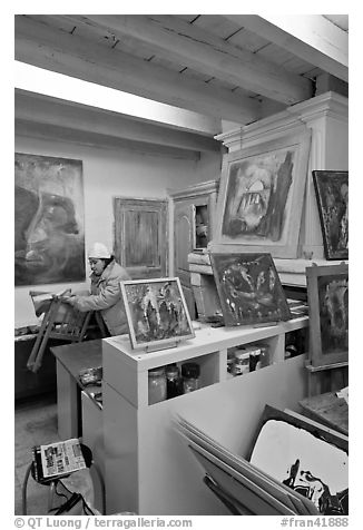 Artist's studio. Arles, Provence, France (black and white)