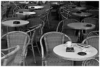 Cafe table, Cours Mirabeau. Aix-en-Provence, France (black and white)