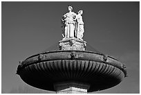 La Rotonde fountain. Aix-en-Provence, France ( black and white)