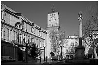City hall and plaza. Aix-en-Provence, France (black and white)