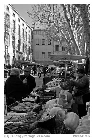 Vegetable market. Aix-en-Provence, France (black and white)
