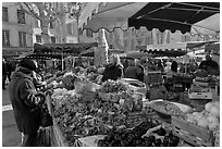 Food shopping in daily vegetable market. Aix-en-Provence, France ( black and white)