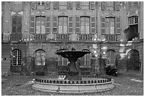 Fountain in courtyard. Aix-en-Provence, France ( black and white)