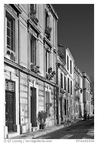 Old townhouses. Arles, Provence, France (black and white)