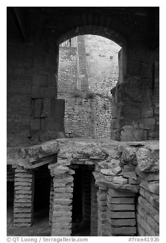 Detail of Roman Bath. Arles, Provence, France (black and white)