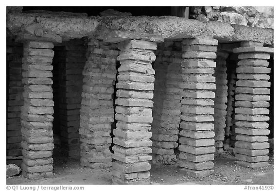 Brick pilars in baths of Constantine. Arles, Provence, France (black and white)