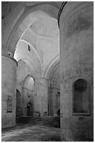 Interior of Saint Honoratus church, Alyscamps. Arles, Provence, France (black and white)