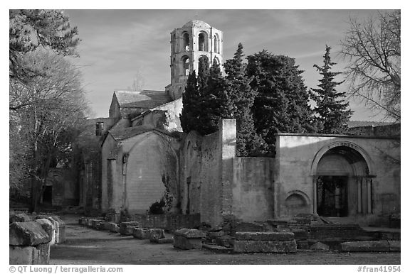 Medieval Church of Saint Honoratus in Les Alyscamps. Arles, Provence, France (black and white)
