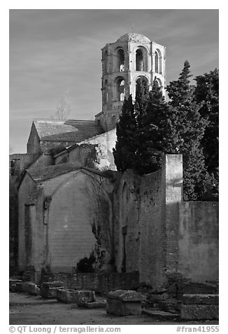 Romanesque Church of Saint Honoratus, Alyscamps. Arles, Provence, France (black and white)