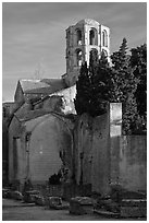 Romanesque Church of Saint Honoratus, Alyscamps. Arles, Provence, France ( black and white)