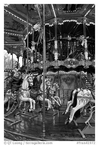 Old carousel. Avignon, Provence, France (black and white)
