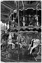Old carousel. Avignon, Provence, France ( black and white)