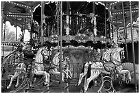 Girl on merry-go-round. Avignon, Provence, France ( black and white)