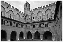 Courtyard, Papal Palace. Avignon, Provence, France (black and white)
