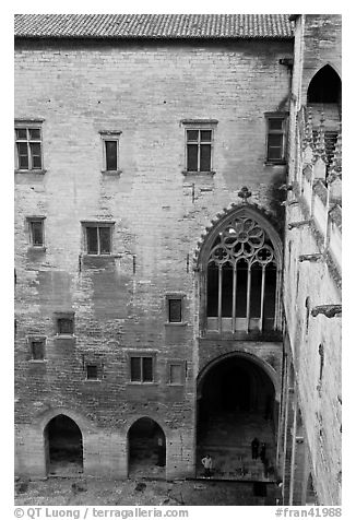 Inside the Palais des Papes. Avignon, Provence, France (black and white)