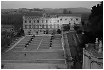 Petit Palais and plazza seen from Papal Palace. Avignon, Provence, France (black and white)