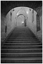 Stairs inside Palace of the Popes. Avignon, Provence, France (black and white)