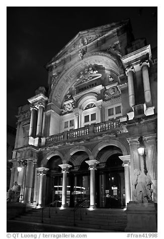 Theatre at night. Avignon, Provence, France (black and white)
