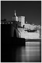 Rhone River, St Benezet Bridge and Palais des Papes at night. Avignon, Provence, France ( black and white)