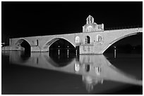 Pont d'Avignon at night. Avignon, Provence, France (black and white)