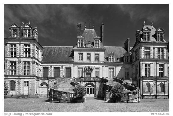 Palace of Fontainebleau. France (black and white)