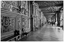 Francois 1er gallery, Chateau de Fontainebleau. France (black and white)