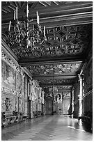 Gallerie Francois 1er, Fontainebleau Palace. France (black and white)