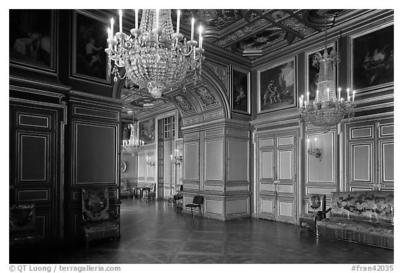 Entrance of the Louis 13 room, Fontainebleau Palace. France (black and white)