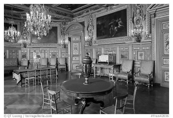 Salon Louis XVIII, Chateau de Fontainebleau. France (black and white)