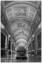 Library, palace of Fontainebleau. France ( black and white)