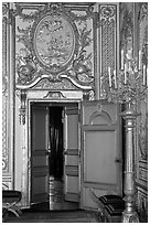 Fontainebleau Palace interior with richly decorated walls. France (black and white)